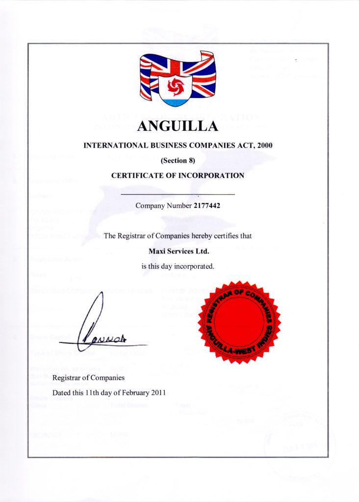 Cвидетельство о регистрации Maxi Services Limited