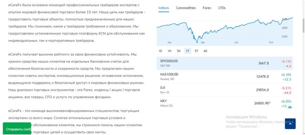 Информация с главной страницы сайта eCore FX.