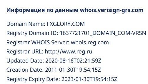 Сайт компании FXGlory был создан в августе 2020 года, ни о каких долгих годах работы речи не идёт