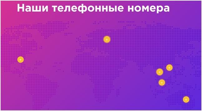 В разделе «контакты» указаны номера в разных странах мира, но ни один из этих номеров не существует в реальности
