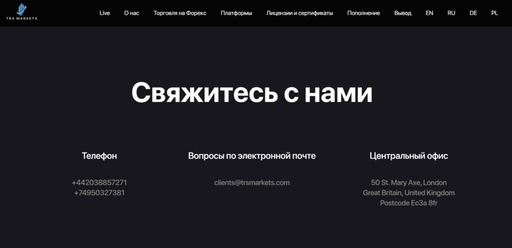 TRS Markets Контакты