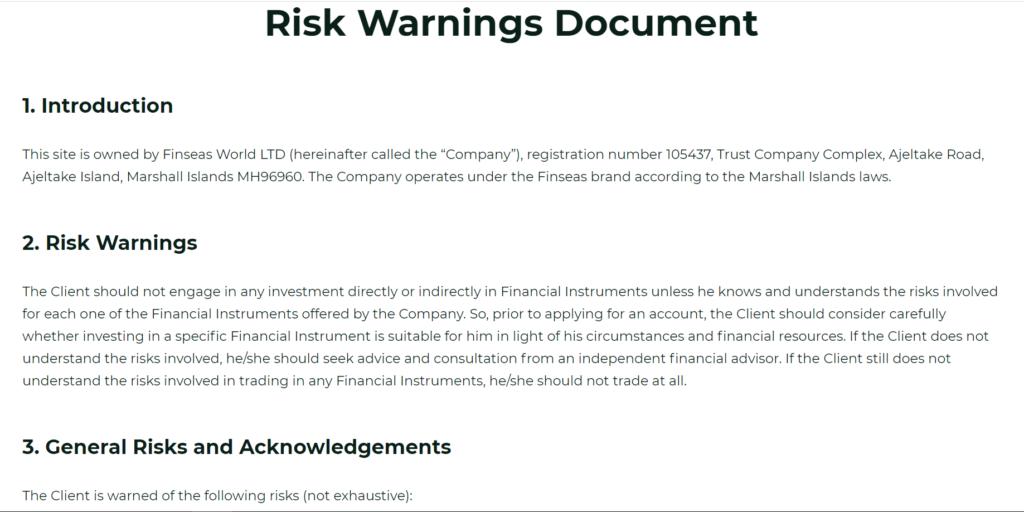 Finseas предупреждение о рисках